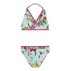 Baker by Ted Baker - Girls' light blue floral halter bikini top and bottoms