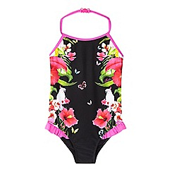 Baker by Ted Baker - Girls' black floral mirror print swimsuit