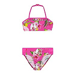 Baker by Ted Baker - Girls' pink floral bandeau bikini top and bottoms