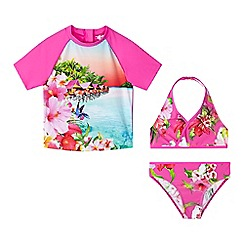 Baker by Ted Baker - Girls' pink beach scene rash vest, bikini top and bottoms set