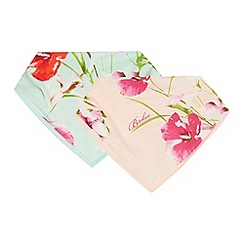 Baker by Ted Baker - Pack of two baby girls' light green floral print bibs