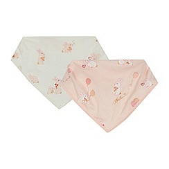 Baker by Ted Baker - Pack of two baby girls' pink bunny print bibs