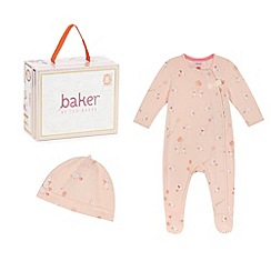 Baker by Ted Baker - Baby girls' pink bunny print sleepsuit and hat in a gift box