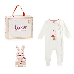 Baker by Ted Baker - Baby girls' cream bunny print sleepsuit and bunny rattle in a gift box