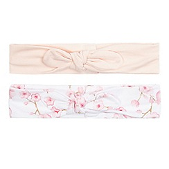 Baker by Ted Baker - Pack of two baby girls' pink and white blossom print hairbands