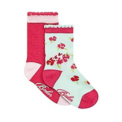 Baker by Ted Baker - Pack of two babies pink and aqua floral print socks