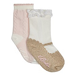 Baker by Ted Baker - Pack of two baby girls' pink and cream socks