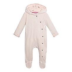Baker by Ted Baker - Baby girls' pink textured debossed logo snuggle suit