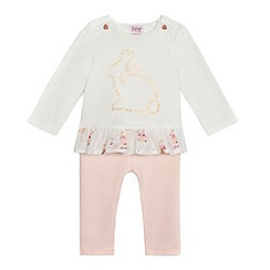 Baker by Ted Baker - Baby girls' white bunny top and textured leggings set