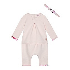 Baker by Ted Baker - Baby girls' light pink quilted top, harem trousers and headband set