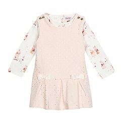 Baker by Ted Baker - Baby girls' pink dotted dress and bunny print top set
