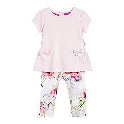 Baker by Ted Baker - Baby girls' light pink quilted top and floral print leggings set