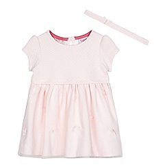 Baker by Ted Baker - Baby girls' light pink butterfly applique dress and headband set