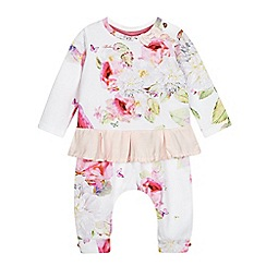 Baker by Ted Baker - Baby girls' white and pink floral print peplum top and harem trousers set