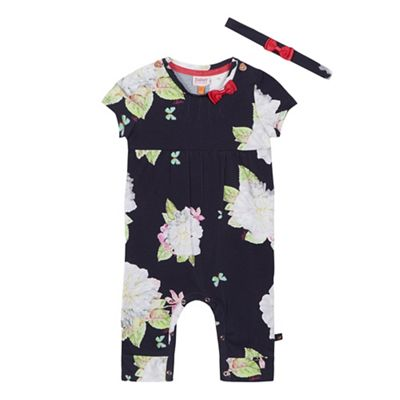 Baker by Ted Baker Baby girls navy floral print sleepsuit