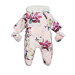 Baker by Ted Baker - Baby girls' light pink floral and bubble print snow jacket