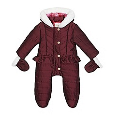 Baker by Ted Baker - Girls' dark red peplum snowsuit with mittens