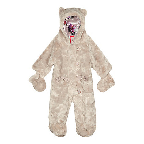 Baker by Ted Baker - Baby girls+ light pink faux fur snowsuit
