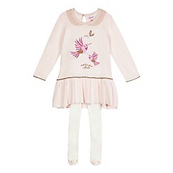 Baker by Ted Baker - Baby girls' light pink knitted dress with tights