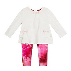 Baker by Ted Baker - Baby girls' white peplum top and leggings set