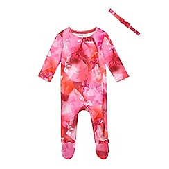 Baker by Ted Baker - Baby girls' pink graphic bow print sleepsuit and headband set