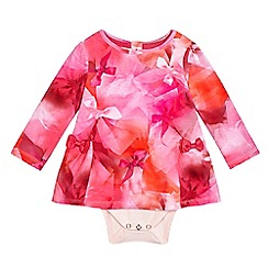 Baker by Ted Baker - Baby girls' pink graphic bow print mock dress bodysuit