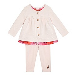 Baker by Ted Baker - Baby girls' light pink quilted mock jacket and leggings set