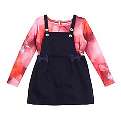 Baker by Ted Baker - Baby girls' navy pinafore and pink bow print top set