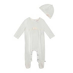 Baker by Ted Baker - Baby girls' white quilted sleepsuit and hat set