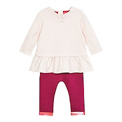 Baker by Ted Baker - Baby girls' pink dotted print top and leggings set