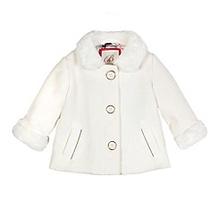 Baker by Ted Baker - Girls' off white faux fur trim coat