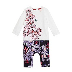 Baker by Ted Baker - Baby girls' cream and navy floral print top and leggings set