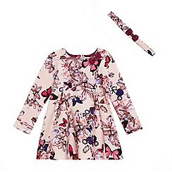Baker by Ted Baker - Girls' pink flower print cotton dress with headband