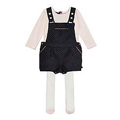 Baker by Ted Baker - Baby girls' navy spot print dungarees, pink top and white tights set