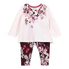 Baker by Ted Baker - Baby girls' light pink pleated top and navy quilted leggings set
