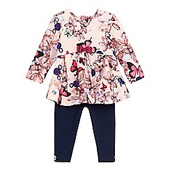Baker by Ted Baker - Baby girls' pink peplum tunic and navy quilted leggings set