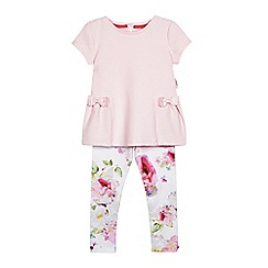 Baker by Ted Baker - Girls' light pink quilted top and floral leggings set