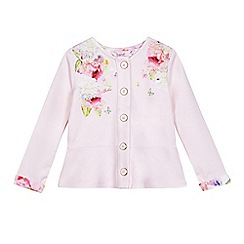 Baker by Ted Baker - Girls' light pink floral print peplum zip sweater