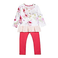 Baker by Ted Baker - Girls' pink floral print peplum top and quilted leggings set