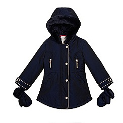 Baker by Ted Baker - Girls' navy shower resistant parka coat and removable mittens set