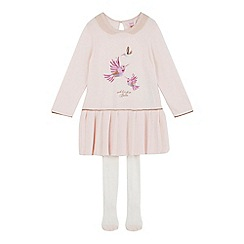 Baker by Ted Baker - Girls' light pink knitted dress with tights
