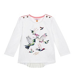 Baker by Ted Baker - Girls' white hummingbird applique pleated back long sleeved top