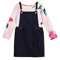 Baker by Ted Baker - Girls' navy pinafore and pink bird print top set