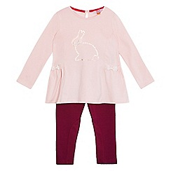 Baker by Ted Baker - Girls' light pink bunny print top and quilted leggings set
