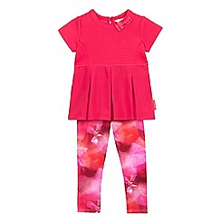 Baker by Ted Baker - Girls' pink textured pleated top and graphic print leggings set