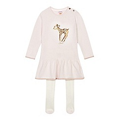 Baker by Ted Baker - Girls' pink knit dress with tights