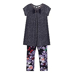 Baker by Ted Baker - Girls' navy sparkle top and floral print trousers set