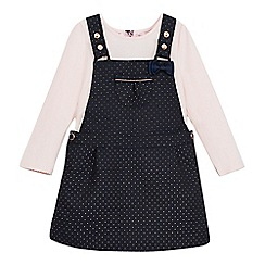Baker by Ted Baker - Girls' navy polka spotted pinafore and light pink top set