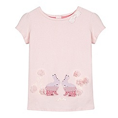Baker by Ted Baker - Girls' light pink flower applique sequin rabbit top