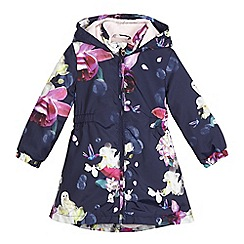 Baker by Ted Baker - Girls' navy floral print showerproof mac coat